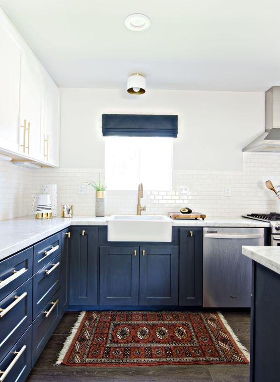 Design Trends Navy Blue Interior Open shelves