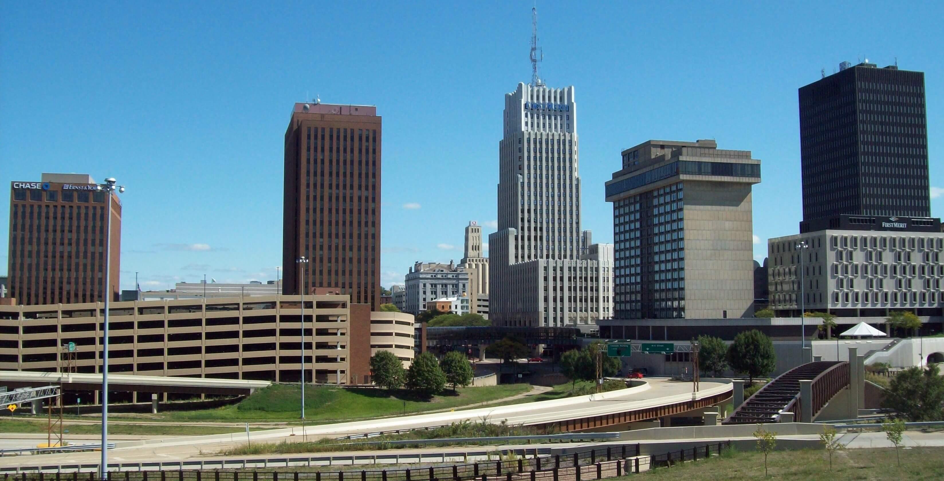 Panorama of downtown Akron Ohio