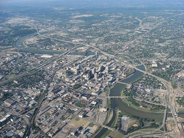 Aerial view of Dayton, Ohio